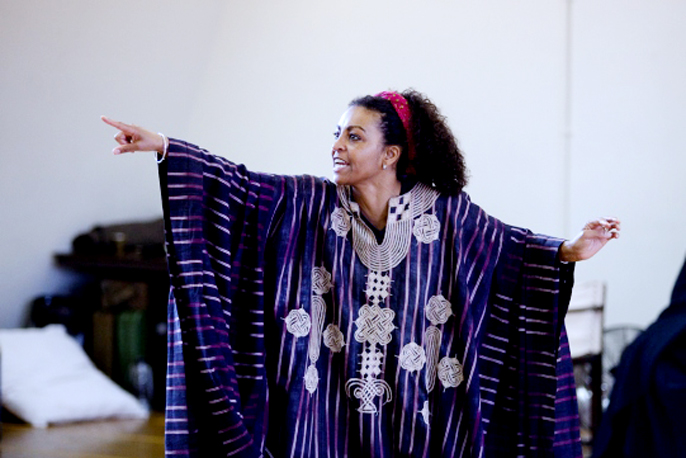 Adjoa Andoh in rehearsal for Julius Caesar | Photo by Kwame Lestrade