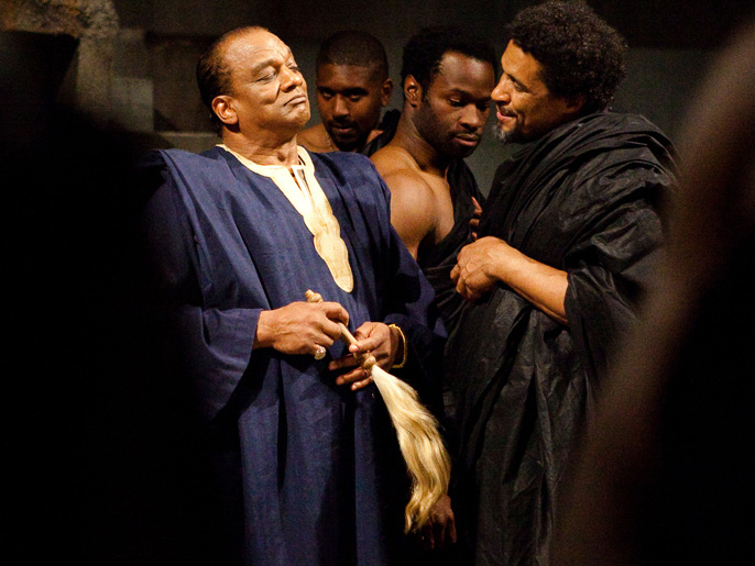 Jeffery Kissoon (Julius Caesar), Mark Theodore (Metellus Cimber), Chinna Wodu (Cinna, The Conspirator), Ricky Fearon (Cicero) [image by Kwame Lestrade]