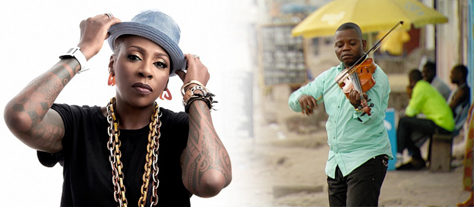 Gina Yashere [leftl and Kinshasa Symphony Orchestra [right]