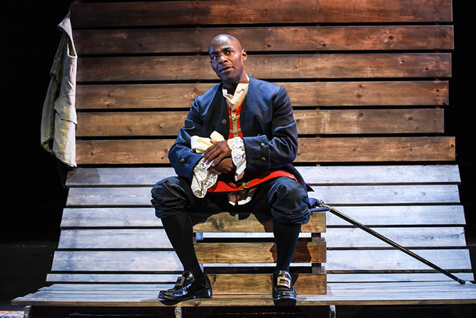 Pemberley Productions and Oxford Playhouse present SANCHO - AN ACT OF REMEMBRANCE Conceived, written and performed by Paterson Joseph. Photo- Paterson Joseph as Sancho © Robert Day