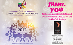 AFRIDIZIAK GIFTS AND OCCASIONS WINTER FAIR 2012 RAISES FUNDS FOR SICKLE CELL SOCIETY