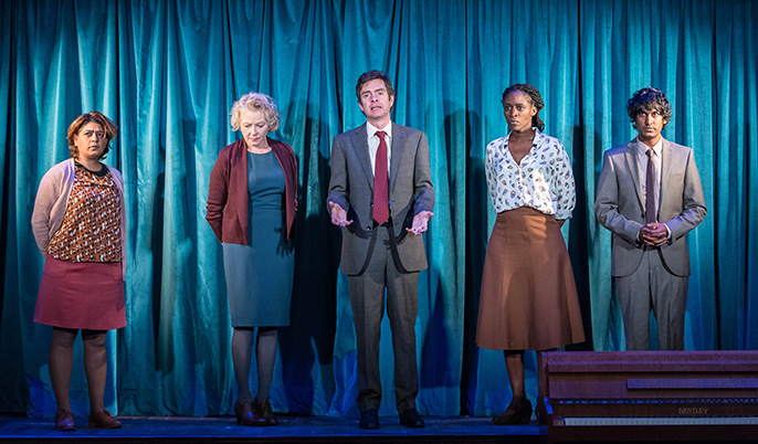 Nisha Nayar, Stella Gonet, Paul Higgins, Sharon Duncan-Brewster & Rudi Dharmalingam in Hope at the Royal Court. Credit Manuel Harlan