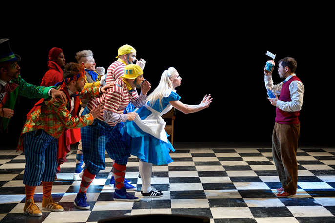 The company of The Mad Hatter's Tea Party © ROH 2014. Photographed by Alice Pennefather
