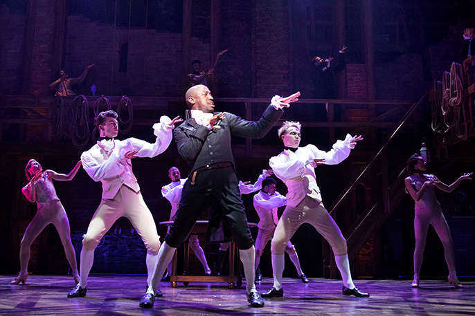 centre Giles Terera (Aaron Burr) with West End Cast of Hamilton - Photo credit Matthew Murphy