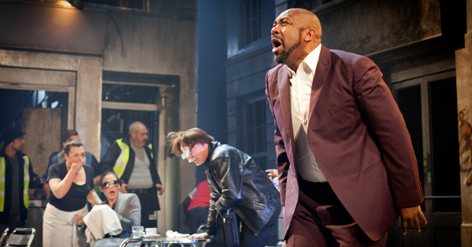 A scene from The Comedy of Errors – foreground Lenny Henry (Antipholus of Syracuse) image Johan Persson