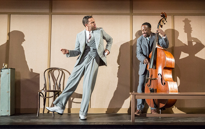 O-T Fagbenle as Levee and Giles Terera as Slow Drag in Ma Rainey's Black Bottom. Photo by Johan Persson.