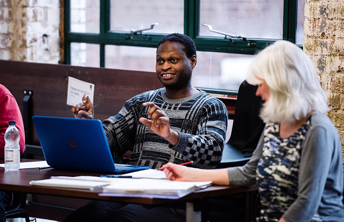 Oladipo Agboluaje (c) Alex Brenner, no use without credit - New Nigerians rehearsal @ Arcola