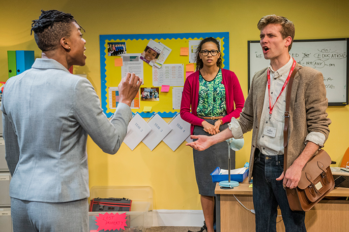 School Play at Southwark Playhouse Ann Ogbomo (Jo), Fola Evans-Akingbola (Lara), Oliver Dench (Tom) Credit Guy Bell