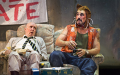 Professor (Alan David) and Johnny Rooster Bryon (Mark Rylance) in Jerusalem, photo Simon Annand