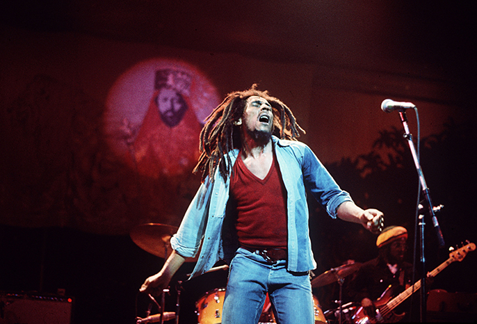 Bob Marley live in performance. Credit Fifty-Six Hope Road Music Ltd © Adrian Boot
