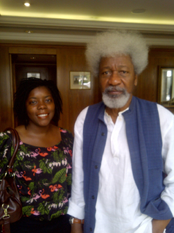 Afridiziak Theatre News and Lime editor Sophia A Jackson with Professor Wole Soyinka, Patron Collective Artistes ~ May 2011
