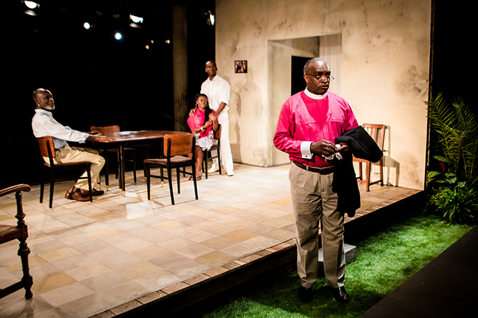 Background - Leo Wringer (Eli Gillard), Akiya Henry (Joylene Gillard), Kolade Agboke (Zek Gillard), Foreground - Ray Shell (Marvin Clarke). by Richard Davenport