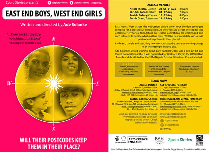 Spora Stories presents East End Boys, West End Girls by Ade Solanke