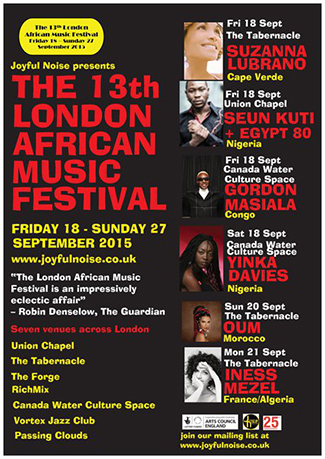 13th London African Music Festival 2015_front of flyer