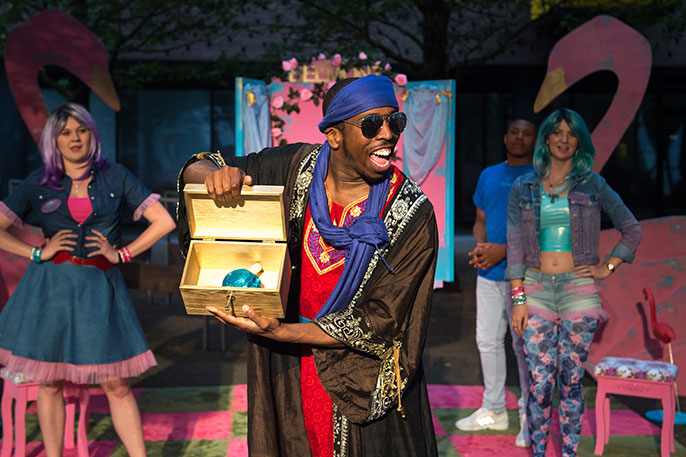Kiel Smith-Bynoe (Prince of Morocco) in the Merchant of Venice, Barking (c)  credit photography by Mark Sepple.