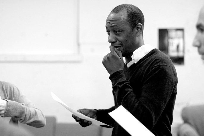 Michael Buffong in rehearsal for Crawling in the Dark, Almeida Theatre. Photo - Ludovic des Cognets