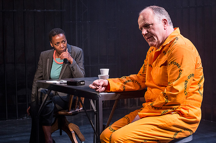 A Human Being Died That Night. Noma Dumezweni (Pumla Gobodo-Madikizela) and Matthew Marsh (Eugene de Kock) . Hampstead Theatre. Photo credit Jesse Kate Kramer