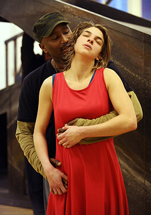 Patrice Naiambana (Othello) and Natalia Tena (Desdemona) in rehearsal for Othello