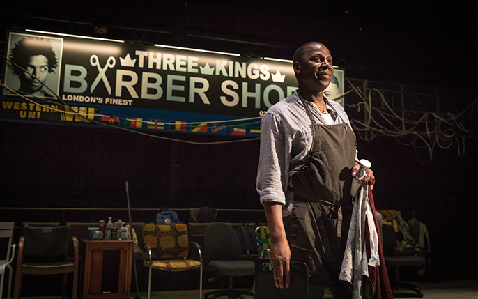 Cyril Nri (Emmanuel) in Barber Shop Chronicles at the National Theatre (c) Marc Brenner