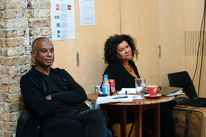 Writer Caryl Phillips in 'Strange Fruit' rehearsals.  Photo credit Helen Murray