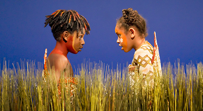 Disney's THE LION KING. Young Simba and Young Nala (B.Dopemu & F.Karlettis). Photo by Johan Persson (C) Disney