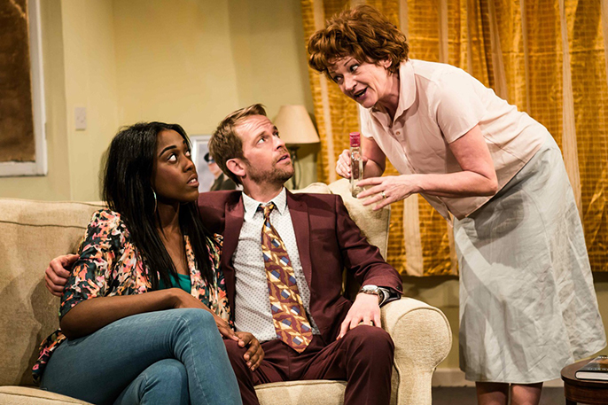 L-R Lashana Lynch (Hayley), Peter Bramhill (Tony) and Annie Hulley (Cate) in Dog Days at Theatre503 Photographer Richard Davenport