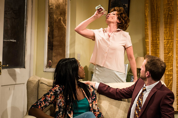 L-R Lashana Lynch (Hayley), Annie Hulley (Cate) and Peter Bramhill (Tony) in Dog Days at Theatre503 Photographer Richard Davenport