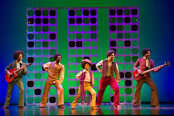 l-r Brandon Lee Sears, Samuel Edwards, Eshan Gopal, Simon Ray Harvey, Simeon Montague as The Jackson 5 in Motown the Musical at the Shaftesbury Theatre. Photo credit Alastair Muir