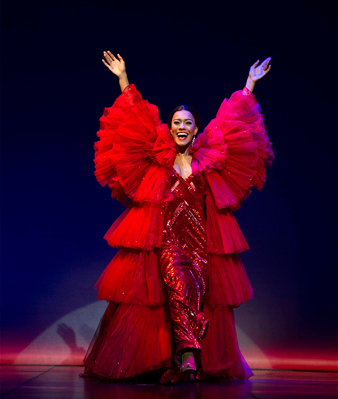 Lucy St. Louis (Diana Ross) in Motown the Musical at the Shaftesbury Theatre. Photo credit Alastair Muir