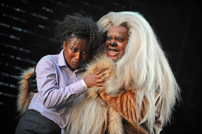 Treyc Cohen (Dorothy) and Clive Rowe (Lion) in The Wiz