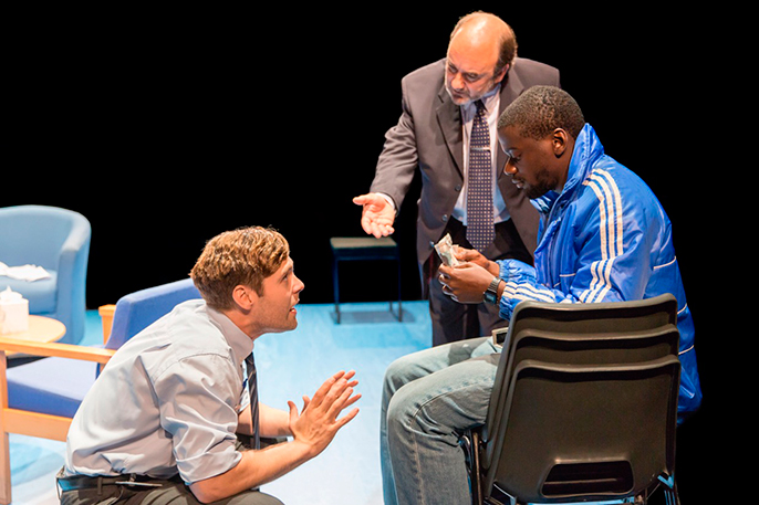 Luke Norris (Bruce), David Haig  (Robert) and Daniel Kaluuya (Christopher) in Blue Orange at the Young Vic © Johan Persson