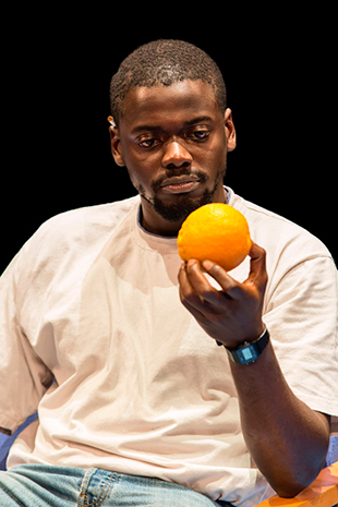 Daniel Kaluuya (Christopher) in Blue Ora nge at the Young Vic © Johan Persson
