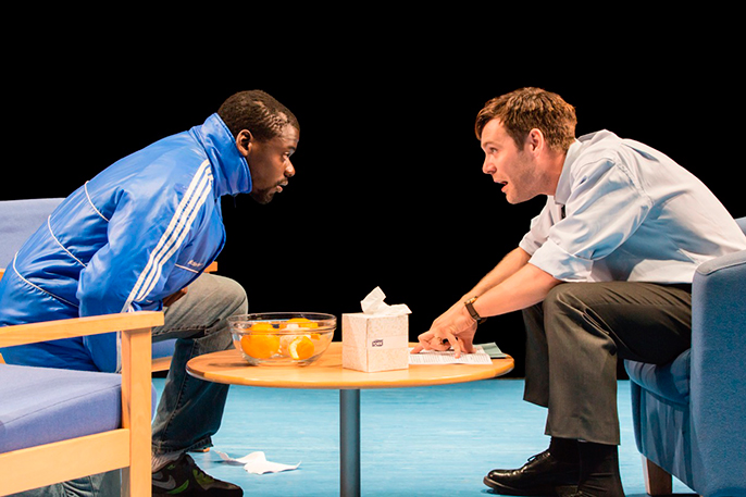 Daniel Kaluuya (Christopher) and Luke Norris (Bruce) in Blue Orange at the Young Vic © Johan Persson