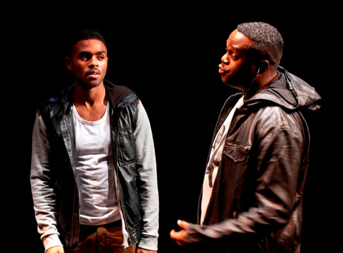 Blackta by Nathaniel Martello-White, Young Vic – left-right Anthony Welsh (Brown) and Javone Prince (Dull Brown)