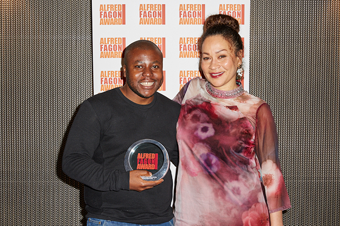 May Sumbwanyambe - winner of the Audience Award for plays staged between Sept 2015 and Aug 2016  for his play After Independence with Martina Laird(c) Ed Miles