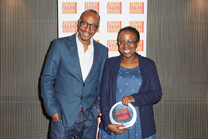 Michael Buffong, Artistic Director of Talawa Theatre Company  presents cheque to 2016 Alfred Fagon winner Lorna French (c) Ed Miles
