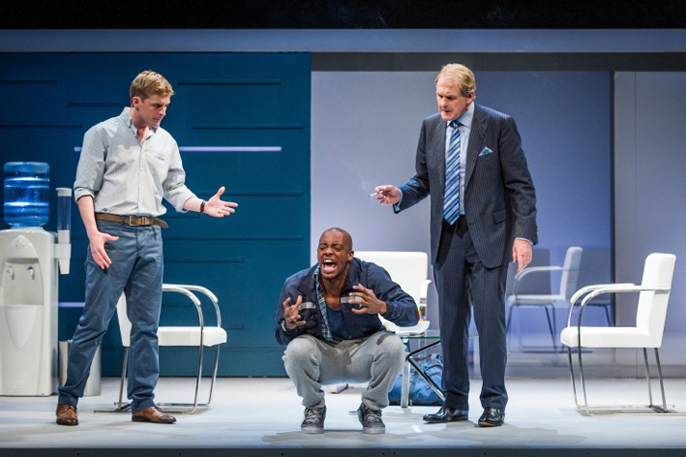 L-R Gerard McCarthy, Oliver Wilson, Robert Bathurst in Blue Orange, photo Robert Workman