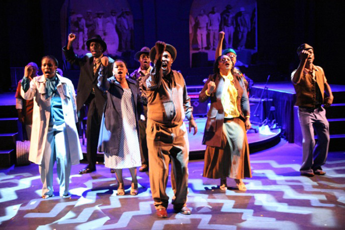 Full cast of Songs of Migration created by Hugh Masekela,Hackney Empire
