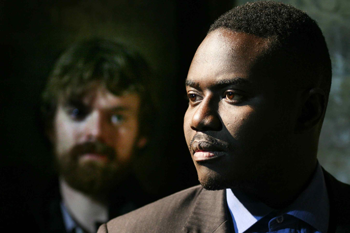 Foreground Babou Ceesay (Abina) and background Alexander Campbell (Warden) in The Serpent's Tooth Photographer Sheila Burnett 4
