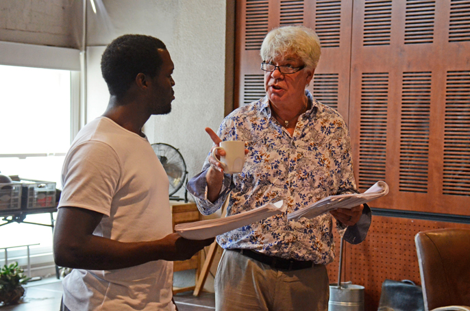 Rehearsal Images - L-R Ansu Kabia (Ricky) & Matthew Kelly (Florian) - To Sir With Love National Tour - Photo Nobby Clark