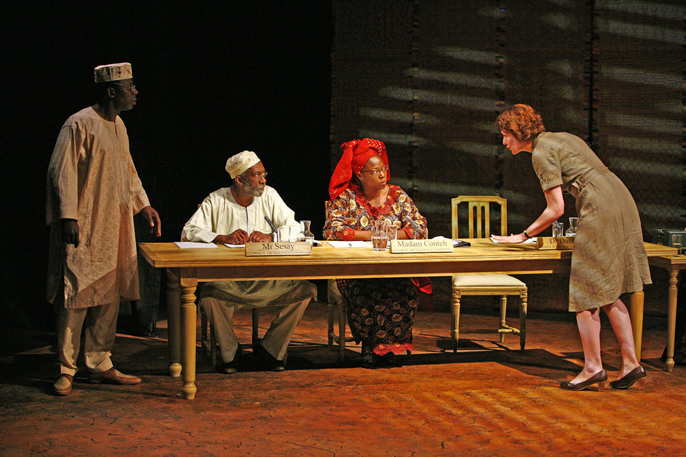 The Observer, London - Cyril Nri (Dr Daramy), Louis Mahoney (Mr Sesay), Aïcha Kossoko (Madame Conteh) andAnna Chancellor (Fiona Russell)