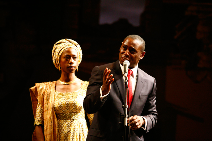 Nikki Ameka-Bird and David Harewood in Welcome to Thebes