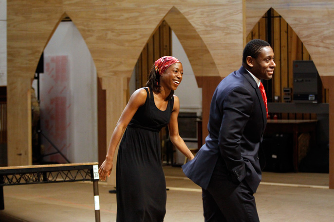 Nikki Amuka-Bird with actor David Harewood - Welcome to Thebes