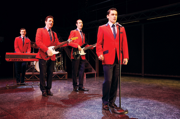 JERSEY BOYS - Stephen Ashfield 'Bob Gaudio', Jon Boydon 'Tommy DeVito', Eugene McCoy 'Nick Massi' and Ryan Molloy 'Franki Valli' - photographers Brinkhoff and Mogenburg