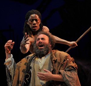 Antony Sher as Prospero and Atandwa Kani as Ariel in 'The Tempest