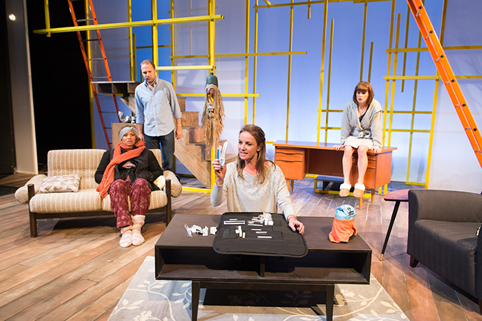 Breeders by Ben Ockrent. Angela Griffin (Caroline), Nicholas Burns (Jimmy), Tamzin Outhwaite (Andrea) and Jemima Rooper (Sharon). Credit Manuel Harlan
