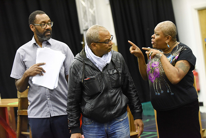 Lenny Henry as Adam, Jeffrey Kissoon as Clifton, Lorna Gayle as Doreen in rehearsals for RRR. Photo by Robert Day