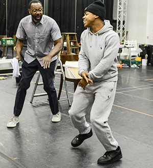 Lenny Henry as Adam and Joivan Wade as Richie in rehearsals for Rudy's Rare Records. Photo by Robert Day