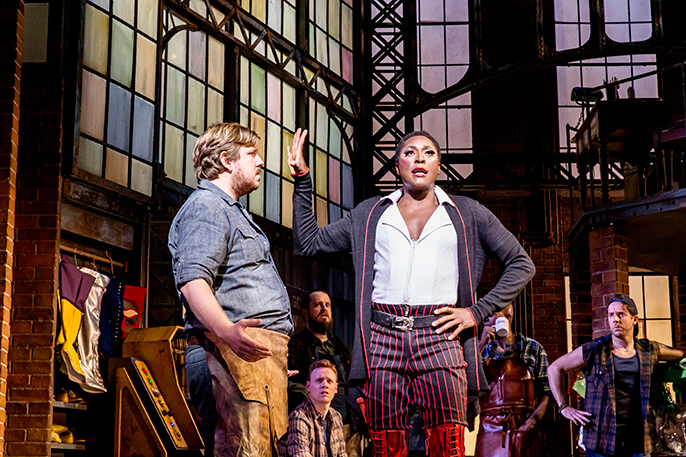 Jamie Baughan (Don) and Matt Henry (Lola) in Kinky Boots - photo Johan Persson