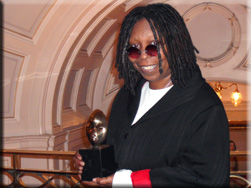 ATN editor/founder Sophia Jackson presented Hollywood legend, Whoopi Goldberg with the 2008 Screen Nation award